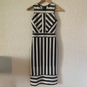 black and white striped lacey eyelet dress